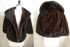 Mahogany MINK Stole , Brown Real Fur Shawl, Vintage Winter Wedding Bridal Cape