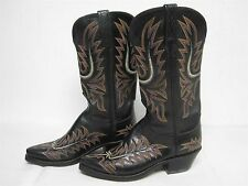 WOMENS 1883 BY LUCCHESE BLACK LEATHER WESTERN COWBOY BOOTS w EMBROIDERY SZ 7 B