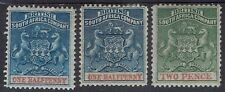 RHODESIA 1892 ARMS 1/2D BOTH SHADES AND 2D