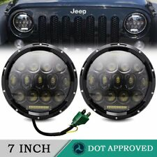 "PAIR OF LAND ROVER DEFENDER TRUCK-LITE 27291C 7"" ROUND LED HEADLAMPS HEADLIGHTS"
