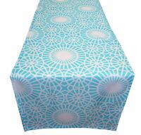 Tischdecke Tischläufer türkis blau weiß modern Stoff Polyester 40 x 145 cm