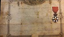 Order Legion of Honor Diploma 1820 & the Order Legion of Honor LOT