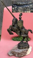 Vintage 1980 WALLY SHOOP ( 1941-)  Bronze Medieval Knight Horse Figurine Statue