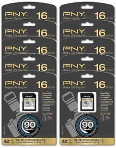 10 x NEW PNY 16GB Elite Performance SDHC Class 10 Flash Memory CARD High Speed