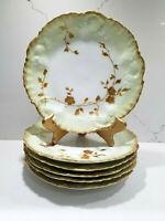 """Set of 6 A Lanternier AL France Limoges Floral Gold Trim Plates Hand Painted 9"""""""