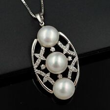 10 mm White Freshwater Pearl CZ 925 Sterling Silver Pendant Chain Necklace 04849