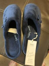 M&S Collection BNWT Navy Mule Fleece Slippers Size 5