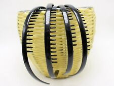 8 Black Plastic Smooth Hair Band Comb Headband 8mm with Teeth Hair Accessories