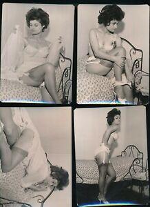 1960s Lot of Four Original UK Lingerie Photos Glamorous Brunette Nylons vv