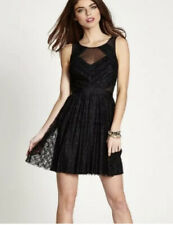 GUESS Black Sleeveless Mesh Inset Crinkle Lace Fit & Flare Dress NWT Sz.8