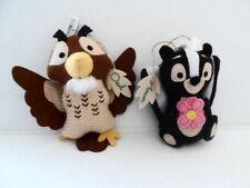 Disney Parks  Owl, Flower Felt Plush Christmas Ornament Set of 2  BNWT