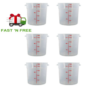 SET of 6-Pack Cambro RFS18PP190 Round Storage Container, 18 Qt, Translucent, NEW