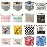 Folding Canvas Laundry Storage Basket Kids Toys Dirty Clothes Bucket Organizer
