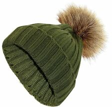 Ladies Chunky Knit Women Cap Winter Warm Unisex Fur Pompom Bobble Casual Hat One Size Green