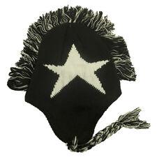 Knit Mohawk Ski Ear Flap Head Cap Black & White Beanie Fleece Snow Warm Adult