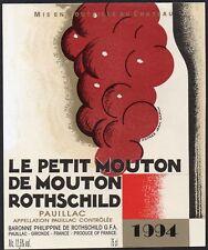 PAUILLAC ETIQUETTE LE PETIT DE MOUTON ROTHSCHILD 1994 DECOREE CARLU §21/05/18§