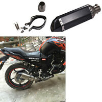 51mm Motorcycle Carbon Fiber Pattern Exhaust Muffler Pipe With Removable, Black