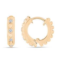 Diamond Hoop Earrings 14K Yellow Gold Unique 0.12 Carat Handmade Half Inch