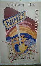 AFFICHE ANCIENNE CENTRE DE TOURISME NIMES GARD AZEMA JACQUES BARTHEZ
