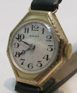 LADIES ANTIQUE 1933 ROLEX WATCH 9K GOLD WATCH CASE WORKS GREAT ROLEX SWISS WATCH