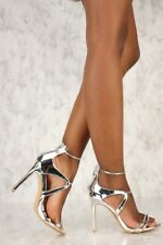 Sexy Patent Metallic Faux Leather Open Toe High Stiletto Heels Sandals Size H207