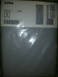 "IKEA Aina Light Gray Linen Curtains,2 NEW Drape Panels 98""Silver Sealed Set DISC"