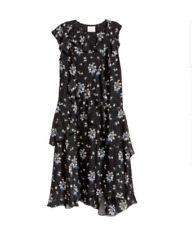 NWT ERDEM x H&M Black 100% Silk Floral Pattern Dress Short Sleeve SZ 2 SOLD OUT