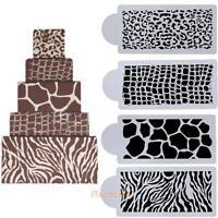4pcs Animals Skin Cake Top Cupcake Stencil Cookie Wedding Decorating Tool Mould