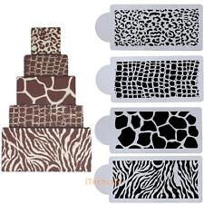 4pcs Animals Skin Cake Top Cupcake Stencil Cookie Wedding Decorating Tool Mould