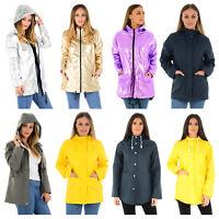 LADIES RAIN MAC WOMENS WATERPROOF FESTIVAL HOODED COAT PARKA RUBBERISED JACKET