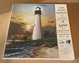 SunsOut 500 Piece Puzzle Called Cape Hatteras Lighthouse by Artist Tom Wood