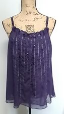 venezia top purple sheer embellishments size 16 ribbon straps summer