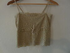 Sz. S Guess Lace Beige  Adjustable Straps  Lined Crop TOP ( Nylon/ Spandex )