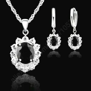 925 Sterling Silver Black Cubic Zirconia Crystal Pendant Necklace & Earring Set