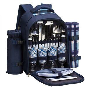 Picknickrucksack Kühltasche mit Geschirrset & Decke für 4 Personen