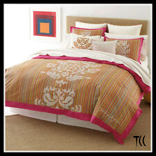 Tommy Hilfiger 4 pc PIPER Twin DUVET COVER & SHAMS NEW Multi-colored Pink Border
