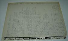 Microfich Ersatzteilkatalog VW Passat Typ 32B 32 B B2 B 2 Santana Stand 02/1982!