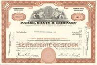 Parke Davis & Company > now Pfizer stock certificate