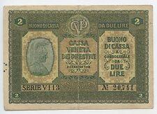 GB409 - Banknote Italien 2 Lire 1918 Pick#M5 RAR Cassa Veneta dei Prestit