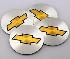 "NEW 4x 56mm 2.2"" SILVER Emblem Badge Sticker Wheel Center Hub Cap Chevrolet"