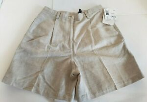 Vtg Liz Claiborne High Waist Linen Shorts Tan Size12 New With Tags