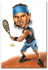 "Rafael Nadal Tennis Player Cartoon Fridge Magnet Collectible Size 2.5"" x 3.5"""