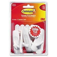 Command Hooks, Medium, 3lb Capacity, White, 6 Hooks  12 Adhesive Strips