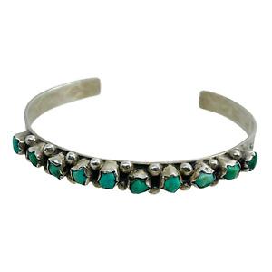 Southwest Silver Turquoise Southwest 10 Stone Stamped Pattern Cuff Bracelet