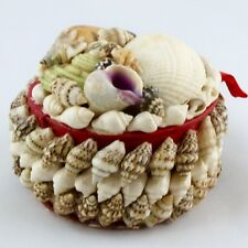 """Ancienne MINI Boite à Bijoux COQUILLAGES """"Souvenir du Bord de mer"""" Shell box 60'"""
