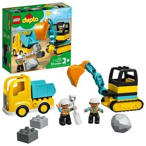 LEGO 10931 DUPLO Construction Truck & Tracked Excavator Building Toy, 20 Pieces