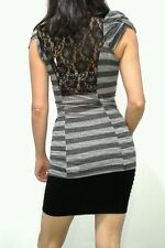 Womens Lace Back Charcoal & Heather Grey Striped Top Blouse Medium