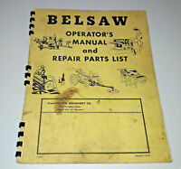 Belsaw Instructions Owner's Operator's Manual  and Repair Parts List R739