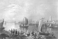 Scotland ANGUS MONTROSE HARBOR PORT SAILBOATS SHIPS ~ 1840 Art Print Engraving