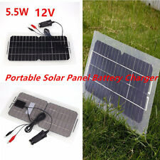 12V 5.5W Portable Solar Panel Car Battery Charger For Vehicle Motor Boat 5V USB